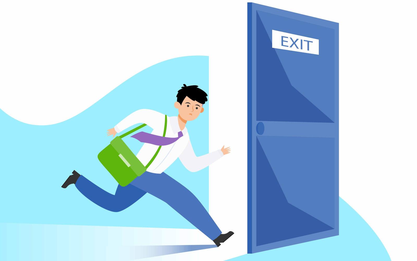 Uomo-corre-uscita-emergenza-da-lavoro-per-sicurezza